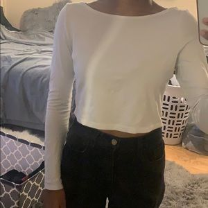 White Boat Neck Long Sleeve Crop Top